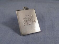 EDWARDIAN ANTIQUE SILVER LOCKET CHARM PENDANT WW1 PHOTOGRAPH FRAME STAMP CASE