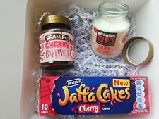 Cherry Bakewell Lovers Christmas Gift Box. Scented Candle, Beanies Coffee, Cakes