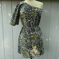 Maude Anthropologie Dress One Cold Shoulder Animal Leopard Print Trendy Small S