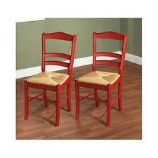 2 Wood Dining Room Ladderback Chairs Red W/Woven Rush Seating Kitchen Furniture