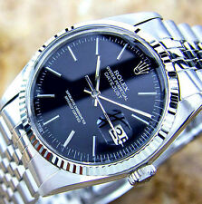 MENS STAINLESS SS ROLEX DATEJUST, QUICKSET W/ ORIGINAL JET BLACK ROLEX DIAL
