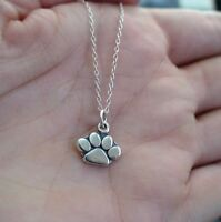 Paw Print Necklace - 925 Sterling Silver - Pendant Charm Dog Cat Paw Print NEW