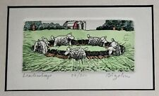 "David Bigelow ""Leadersheep"" Signed Numbered 26/200 Hand Colored Etching Framed"