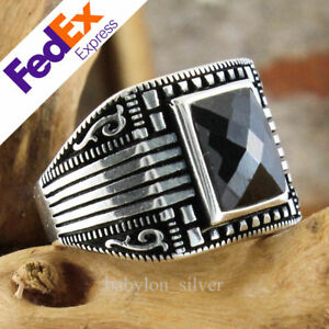 Black CZ Stone 925 Sterling Silver Turkish Anatolian Motif Men's Ring All Sizes