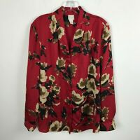 Chico's Blouse Size 2 Red Brown Floral Button Front Long Sleeve Career Womens