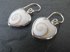 Balinese genuine 925 sterling sculpted spiral shell heart shaped earrings