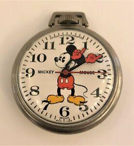 Mickey Mouse Vintage Bradley Pocket Watch Walt Disney Productions