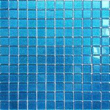Blaue Glasmosaikfliesen mit Glitzereffekt, glänzend. Für Wand. Matte (MT0008)
