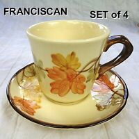 Vintage FRANCISCAN OCTOBER Cup & and Saucer Sets USA Fall Leaf Design - SET of 4