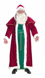 Victorian Santa Suit Adult Mens Costume Red Velvet St. Nick Claus Christmas
