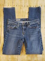 AG Adriano Goldschmied Stevie Slim Straight Dark Wash Women's Designer Jeans 27