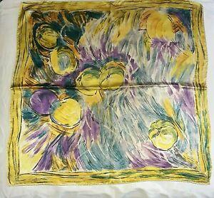 FOULARD ÉCHARPE vintage Floral carrée 100 % soie silk scarf