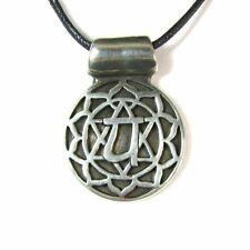 Anahatha, the Heart Chakra Pewter Pendant on Corded Necklace #NI-CHK104