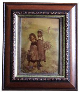Antique Crystoleum Girls Harvesting Wheat
