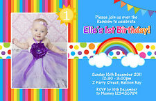 Personalised Rainbow Birthday Invitations Kids Party invites 1st 2nd FREE GIFT