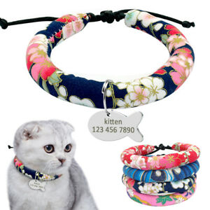 Handcraft Ethnic Floral Small Dog Pet Puppy Cat Collar with ID Tag Engraved XS S