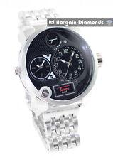 mens big 2 time zone steel tone hip hop clubbing watch black dial link bracelet