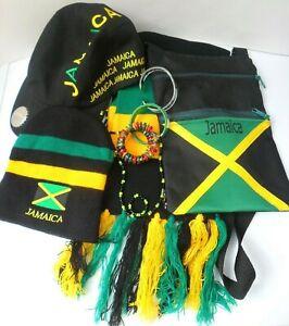 Jamaican Souvenirs - Beanie Hat, Cap,  Scarf, Bag & Jewellery Bundle