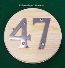 150mm Diameter PINE Plaque for TWO. HOUSE DOOR NUMBER NUMERALS NUMBERS