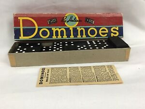 Vintage Halsam  Dominoes 28 Pieces Wooden With Instructions