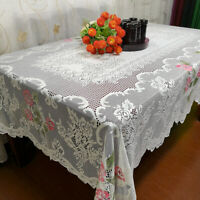 Christmas Tablecloth White Vintage Rectangle Lace Table Cloth Wedding 152x228cm