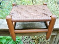 Primitive Antique Vintage wood Foot Stool shaker style Wood Woven Flat Reed