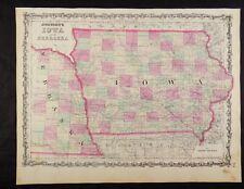 1863 CIVIL WAR MAP OF IOWA & NEBRASKA JOHNSON'S  ATLAS, w/ C.O.A. ORIGINAL VGC+