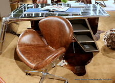 "34"" H Desk aviator chair vintage brown top grain leather on casters aluminum"