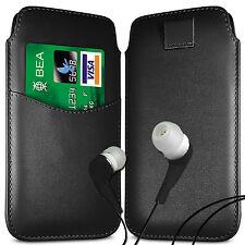CARD SLOT PU LEATHER PULL FLIP TAB CASE & EARPHONES FOR BLACKBERRY SETS