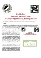 FRED HEISER HANNOVER 96 1959-1967 ORIGINAL AUTOGRAPH CUTTING/CARD