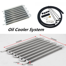 8 Row Car Radiator Remote Aluminum Transmission Oil Cooler + Hose / Mounting Kit