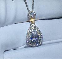 2Ct Pear Cut VVS1/D Diamond Halo Pendant Solid 14K White Gold Finish Free Chain