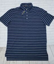 Men's POLO GOLF RALPH LAUREN Blue Stripe Stretch Lisle Shirt L NWT