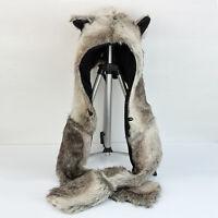 New Wolf Hood Hoodie Fur Animal Hat Spirit 3 in 1 Warm Scarf With Mittens Gloves
