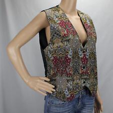 Nouveau Monde Multi Color Vest Ladies Med Snap Front Tie Back