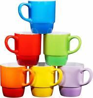 Bruntmor Ceramic Stacking Coffee Mug 18 Ounce Tea Cup Set of 6 Gradient Color