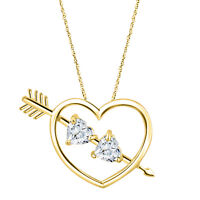 """14K Gold Over Double Heart Diamond With 18"""" Chain Valentine Pendant Necklace"""