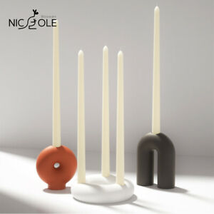 Nicole Geometric Arcs Candle Holder Making Mold Silicone Minimalist Handcraft