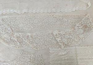 LOT Antique HM BRUSSELS Duchesse Bobbin LACE Flounce Net lace Doily Collar Trim