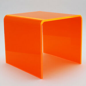 Lava Orange Solid Acrylic Coffee Table - Living Room - Bedside - Garden - Office