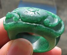 antique Chinese  green jade carved  man thumb ring sz10.5