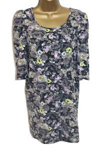 H&M Mama Maternity Dress M 10 12 Organic Cotton Tunic Stretch Floral 3/4 Sleeve
