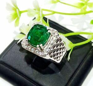 Octagon Cut Green Emerald Wedding Men's Ring In 925 Silver With 7.80ctw Gemstone