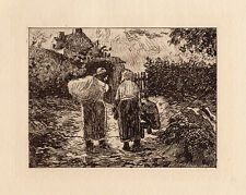 """Camille Pissarro 1892 Limited Edition Etching """"Peasants End of Day"""" Framed COA"""