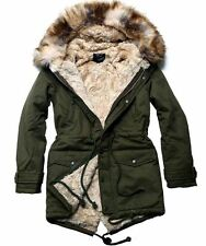 Men Size M Winter Slim Fit Fur Fleece Lined Hooded Parka Korean Fashion