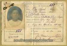 Vietnam Indochine ID Card 1928 - L'Institution (Lasan) Taberd Saigon