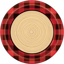 PLAID LUMBERJACK LARGE PAPER PLATES (8) ~ Birthday Party Supplies Dinner Lunch