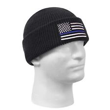 3f35162576b Thin Blue Line Beanie Watch Cap Law Enforcement Black Embroidered Rothco  50342