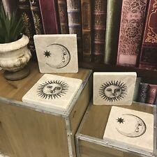 Set of 4 Vintage Sun & Moon Marble Coasters