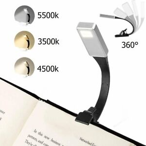 USB Rechargeable Clip On Book Light LED Flexible Reading Lamp For Reader Kindle